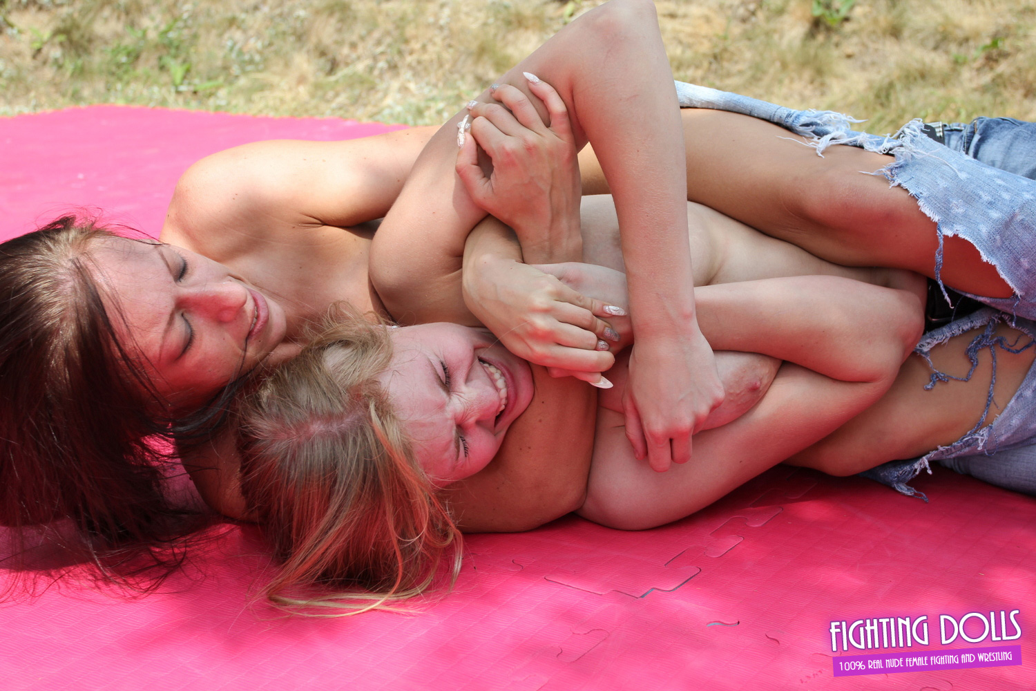 Nude wrestling match with 2 fat and big titted women - 1 part 2